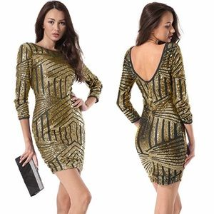 Gold & Black Sequin Bodycon Cocktail Party Dress